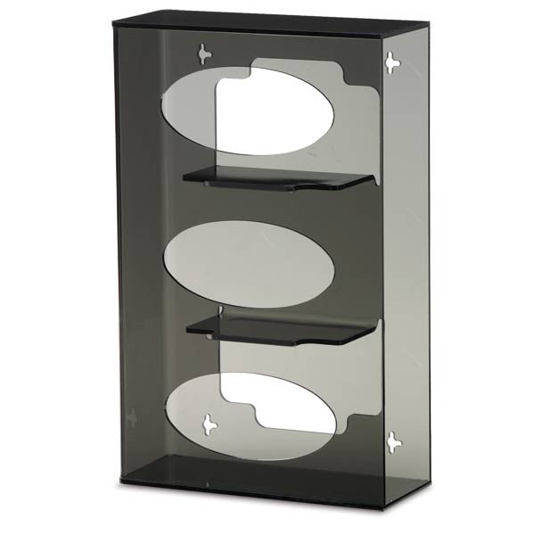 Triple Side-Loading Acrylic Glove Box Holder - Dark Grey