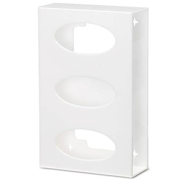Triple Side-Loading Acrylic Glove Box Holder - White