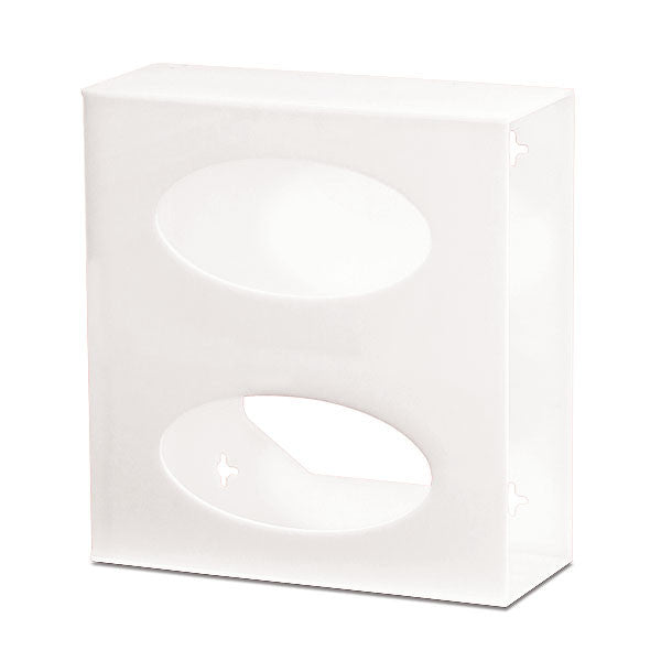 Double Side-Loading Acrylic Glove Box Holder - White