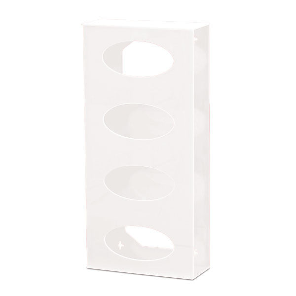 Quad Side-Loading Acrylic Glove Box Holder - White
