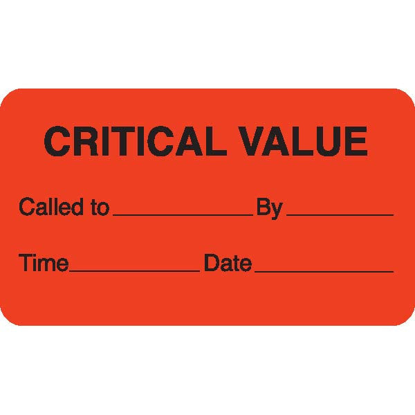 """CRITICAL VALUE"" Orange Medical Label"