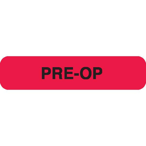 """PRE-OP"" Red Medical Label"