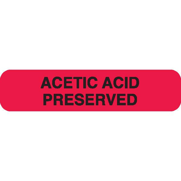 "Urine Collection Label - ""ACETIC ACID PRESERVED"""