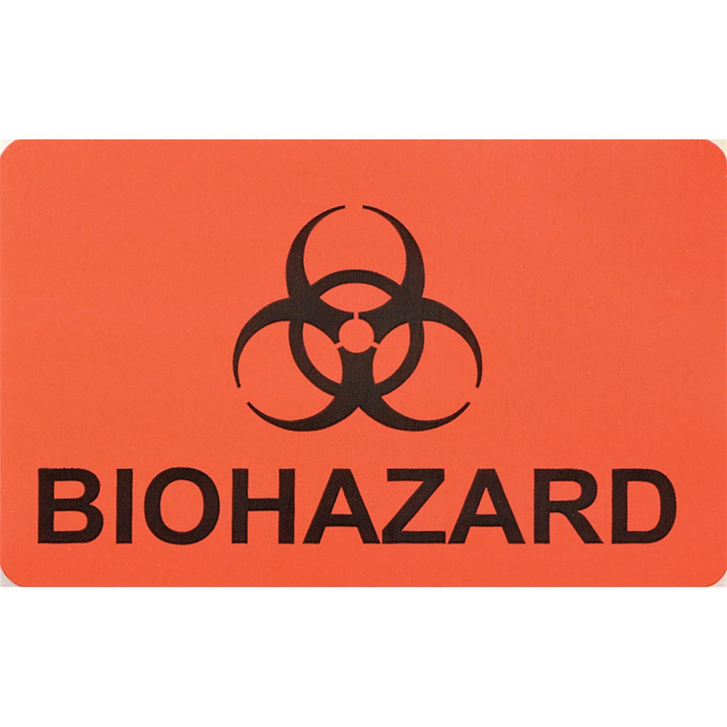 Biohazard Labels - Orange with Black Text - 1,000 per Pack