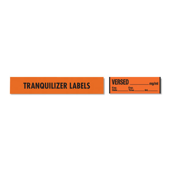 Tranquilizer Medication Label Tape - VERSED__mg/mL