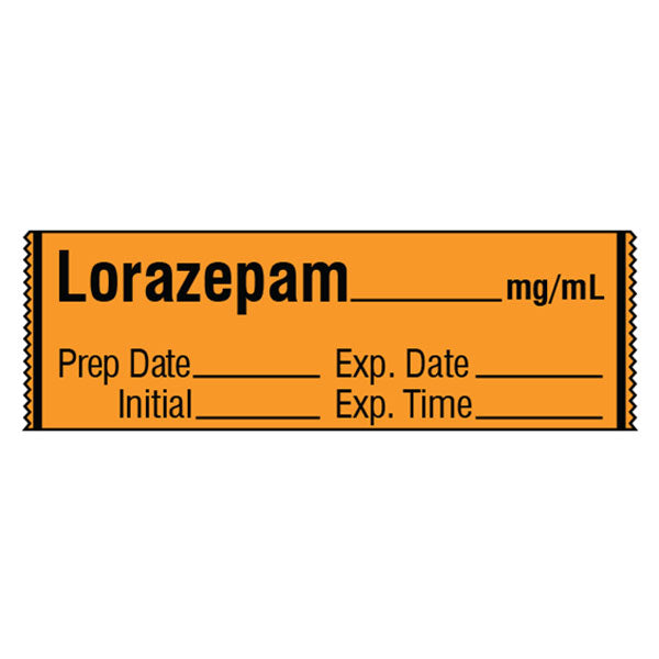 Tranquilizer Medication Label Tape - LORAZEPAM__mg/mL