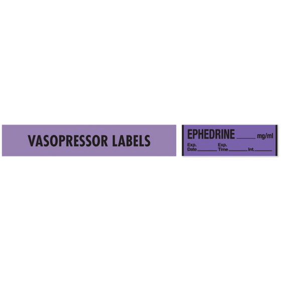 Vasopressor Medication Label Tape - EPHEDRINE__mg/mL