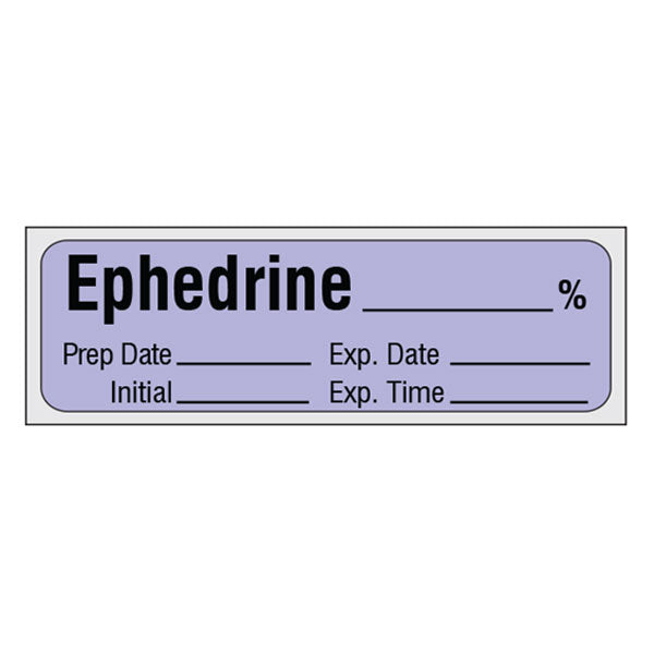 Vasopressor Medication Label Tape - EPHEDRINE__% (traditional violet label)