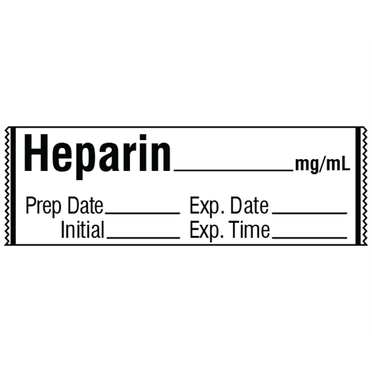 HEPARIN__mg/mL Medication Label Tape