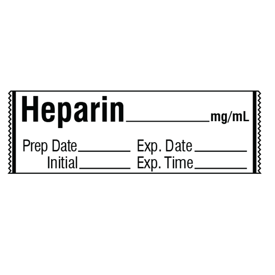 HEPARIN mg/mL Medication Label Tape
