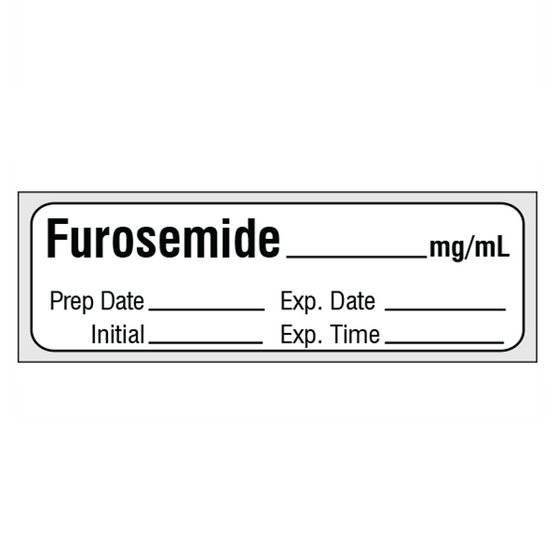 FUROSEMIDE mg/mL Pre-Cut Medication Label Tape