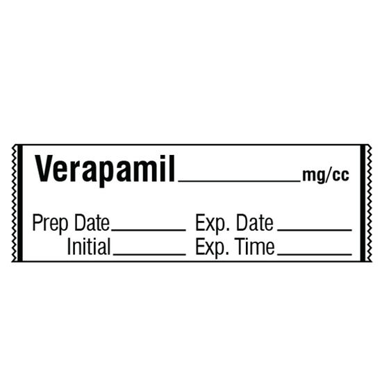 VERAPAMIL mg/cc Medication Label Tape