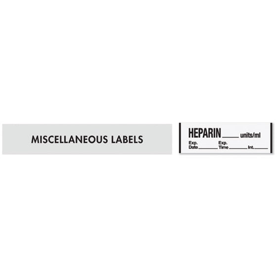 HEPARIN__units/mL Medication Label Tape