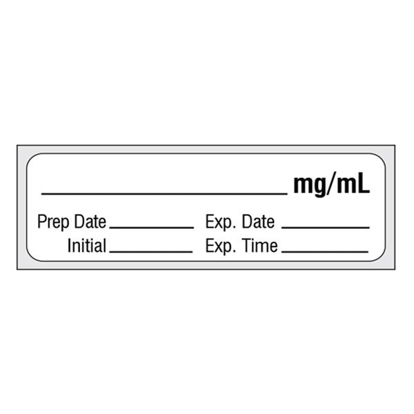 _________ mg/mL Pre-Cut Medication Label Tape
