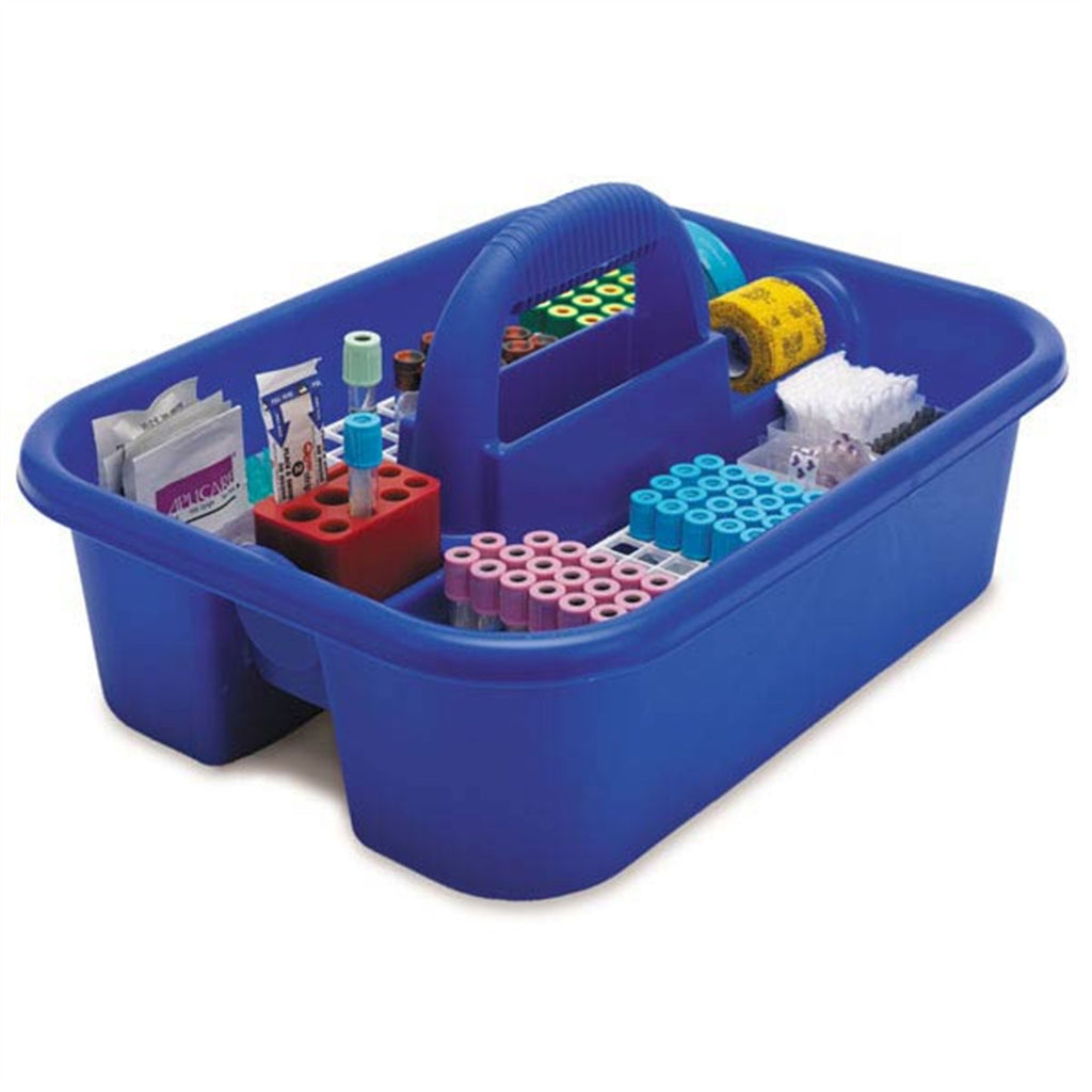 Blue Phlebotomy Tote - Deluxe - With bin cups, tube racks, and red tube holder