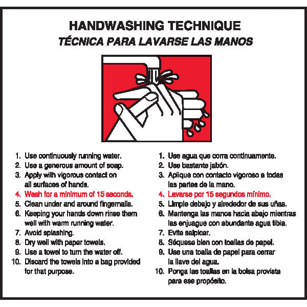 Handwashing Technique Labels