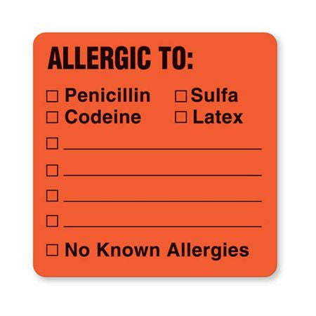 Patient Chart Allergic To: Labels
