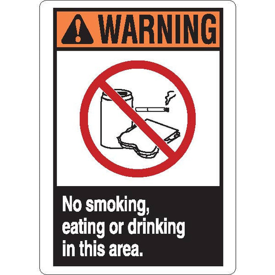 Warning: No smoking, eating or drinking in this area Sign