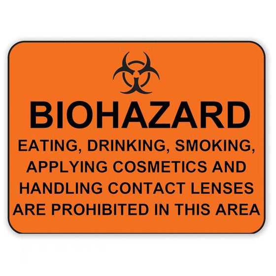 Biohazard Eating, Drinking, Smoking Are Prohibited - Orange