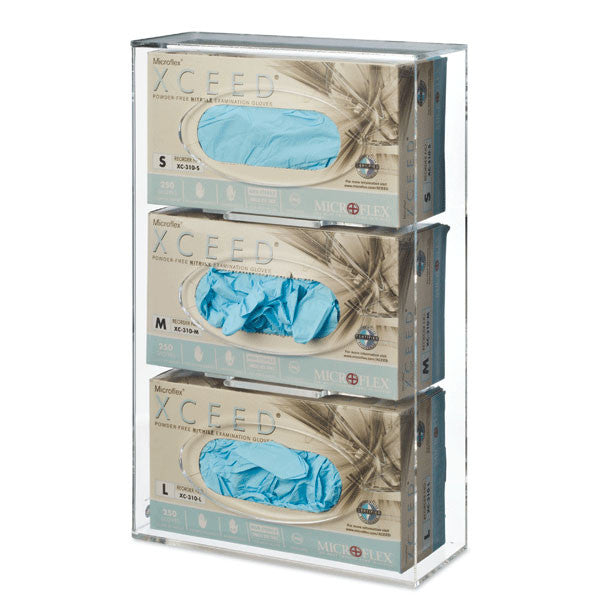 Triple Side-Loading Acrylic Glove Box Holder - Clear