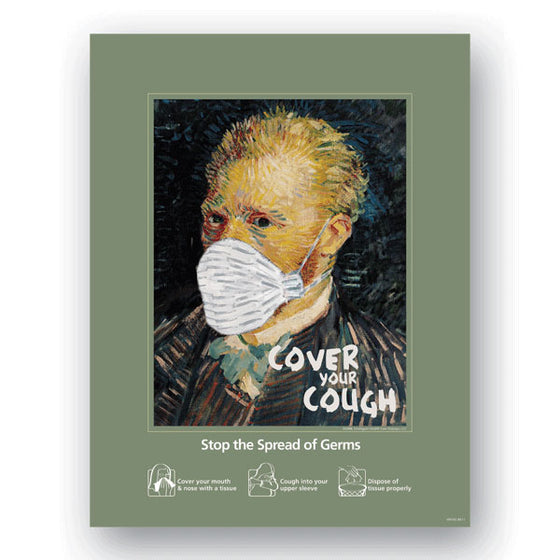 "Cover Your Cough Hygiene Poster - Van Gogh - 22""W x 28""H"