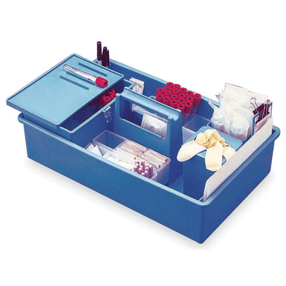 "IsoBox Blood Draw Tray with Built-in Handle - Midsize - 16""L x 9.25""W x 4""H"