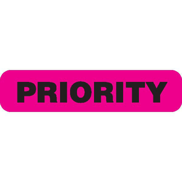 """PRIORITY"" Fluorescent Pink Medical Label"