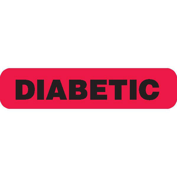 """DIABETIC"" Red Medical Label"