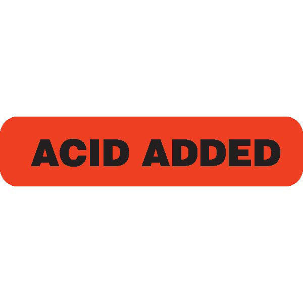 "Urine Collection Label - ""ACID ADDED"""