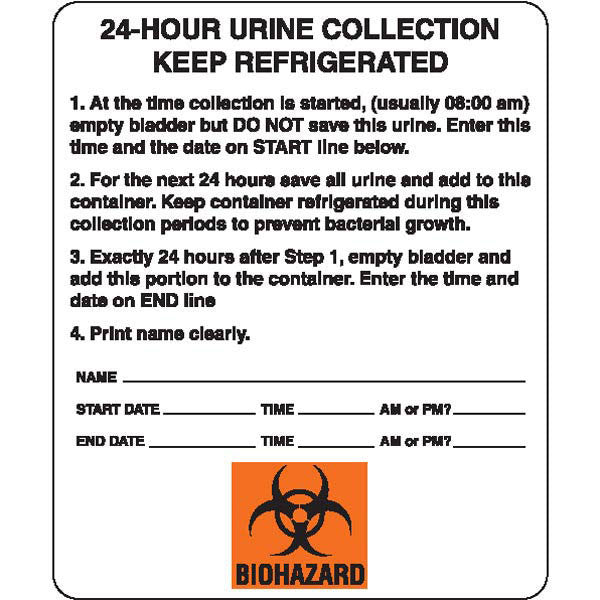 "Urine Collection Label - ""24-HOUR URINE COLLECTION KEEP REFRIGERATED"""