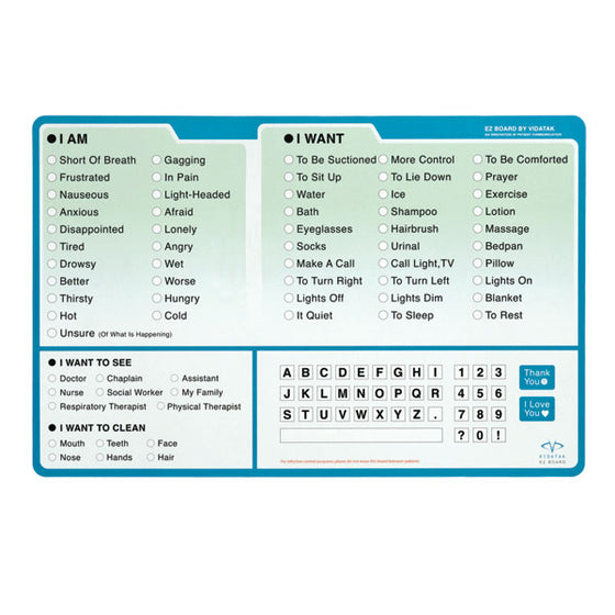 EZ Patient Communication Board - English