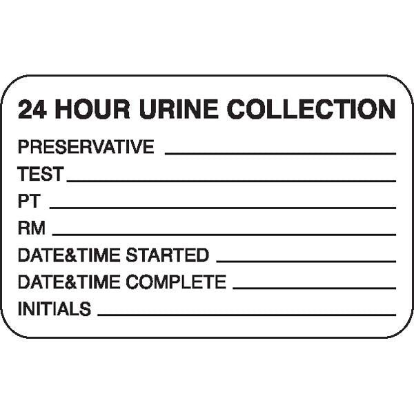 "Urine Collection Label - ""24 HOUR URINE COLLECTION"""
