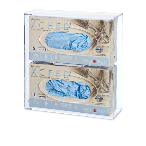 Double Side-Loading Acrylic Glove Box Holder - Clear