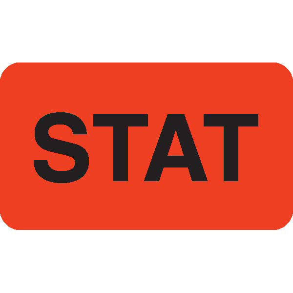 """STAT"" Orange Medical Label - 1.75"" x 1"""