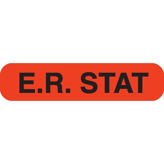 """E.R. STAT"" Orange Medical Label"