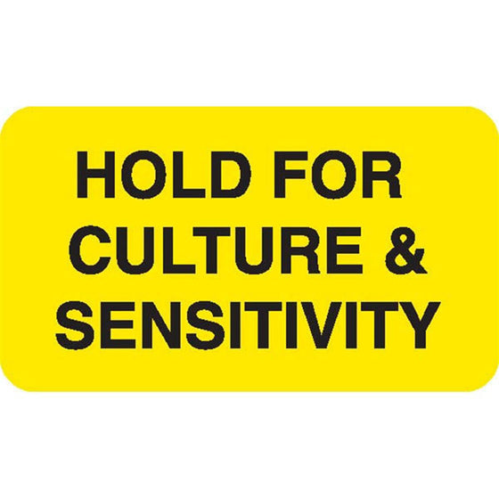 "Urine Collection Label - ""HOLD FOR CULTURE AND SENSITIVITY"""