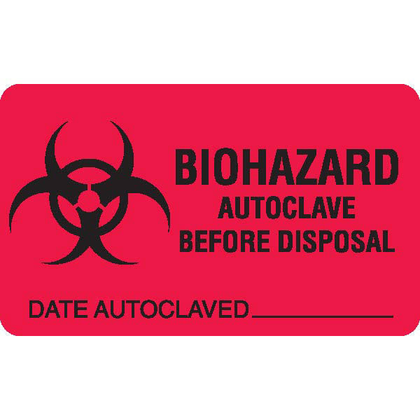 BIOHAZARD AUTOCLAVE BEFORE DISPOSAL - Red with Black Text