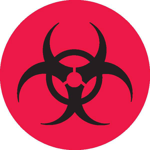 Biohazard Symbol - Red with Black Text
