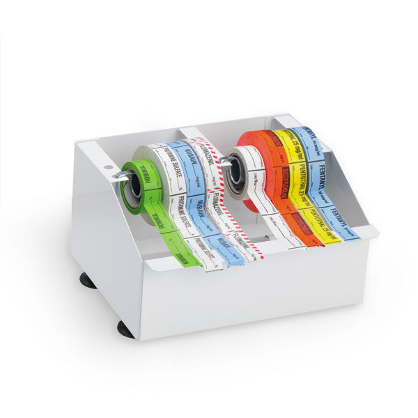 Metal Medication Label Tape Dispenser - Holds 8 Rolls