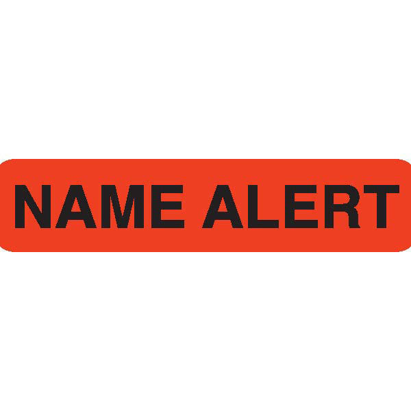 """NAME ALERT"" Orange Medical Label"