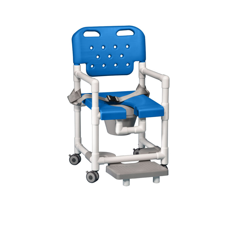 Elite Shower Chair Commode with Footrest & Seat Belt - Blue