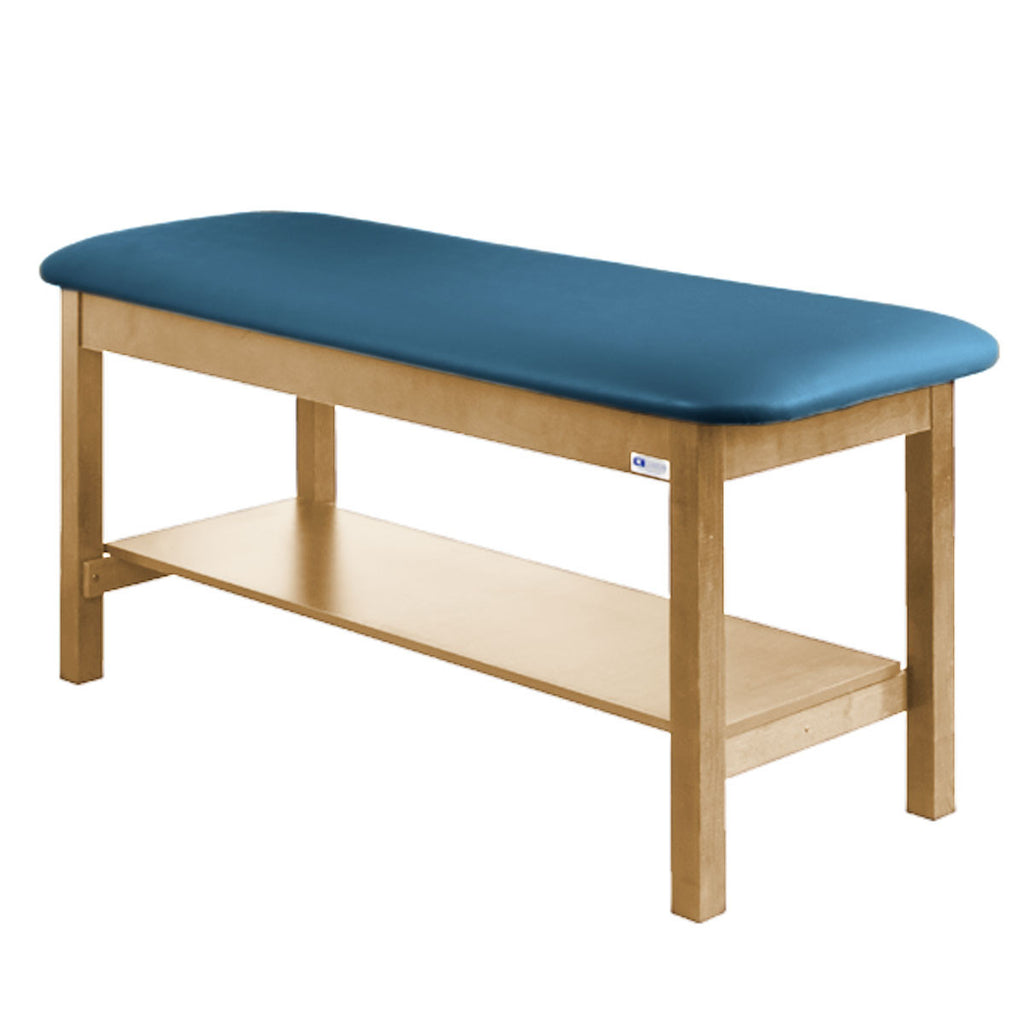 Treatment Exam Table Wooden Full Shelf Flat Top - Wedgewood