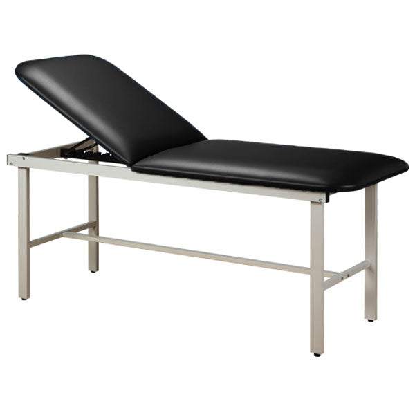 Adjustable Backrest Treatment Table with Steel Frame - Black