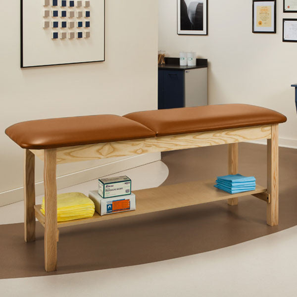 Wooden Treatment Exam Table with Full shelf & Adjustable Backrest - Allspice