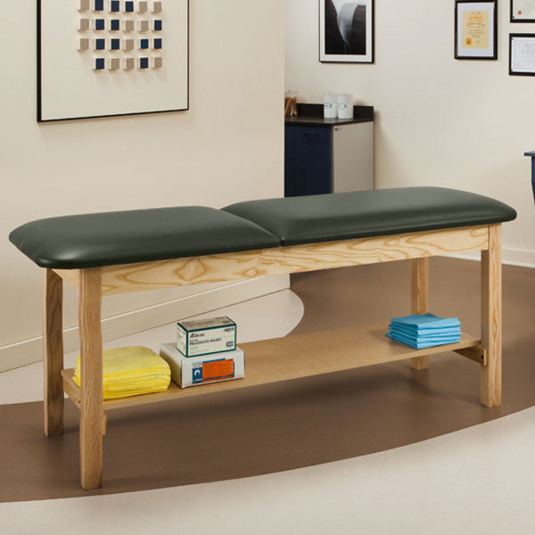 Wooden Treatment Exam Table with Full shelf & Adjustable Backrest - Gunmetal