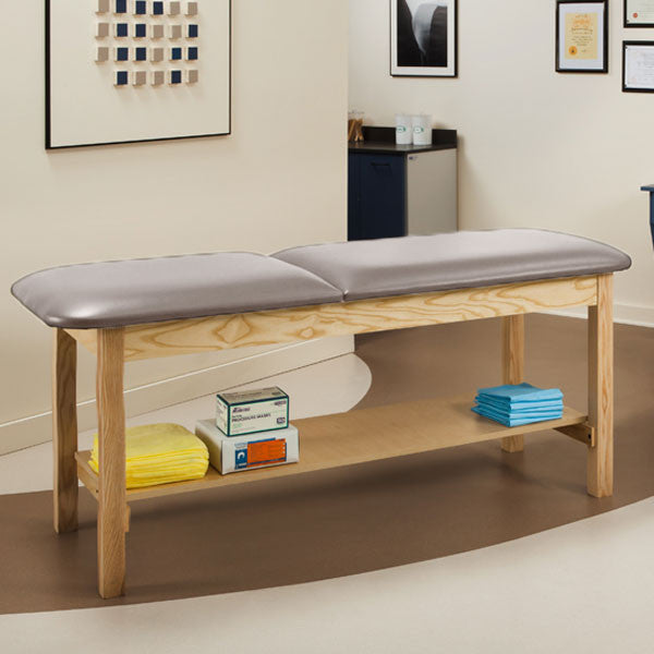 Wooden Treatment Exam Table with Full shelf & Adjustable Backrest - Cream
