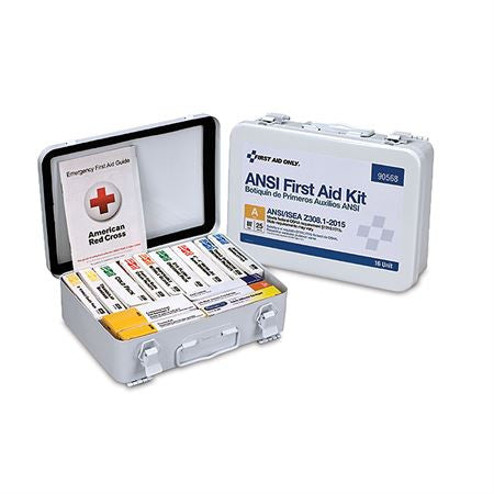 16 Unit First Aid Kit w/Metal Weatherproof Case -