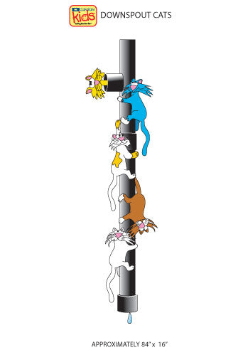 "Wall Stickers for Pediatric Exam Rooms - Downspout Cats - 16"" x 84"" -"