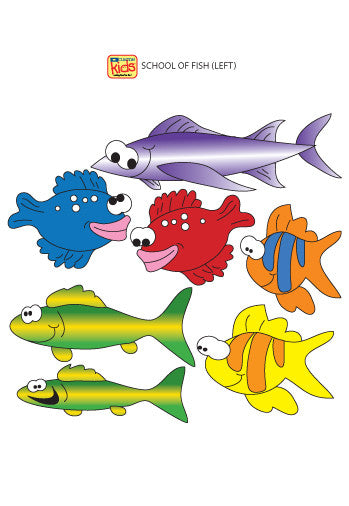 "Wall Stickers for Pediatric Exam Rooms - School of Fish (Left Facing)s - 15"" x 6.5"" -"