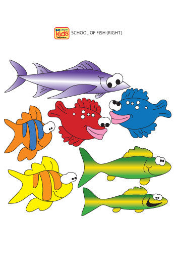 "Wall Stickers for Pediatric Exam Rooms - School of Fish (Right Facing)s - 15"" x 6.5"" -"